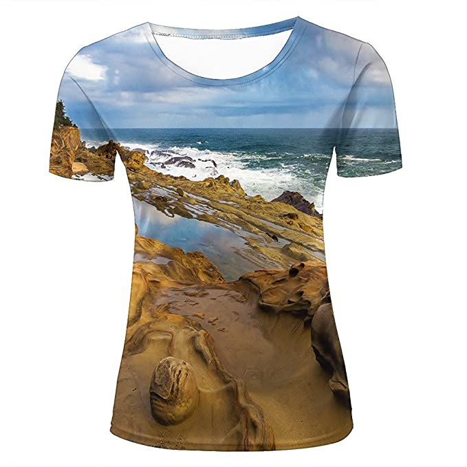 045f26f7e 3D Creative Printed Mens Womens Beautiful Coastline Graphic Summer Casual  Short Sleeve Couple T Shirts Tees