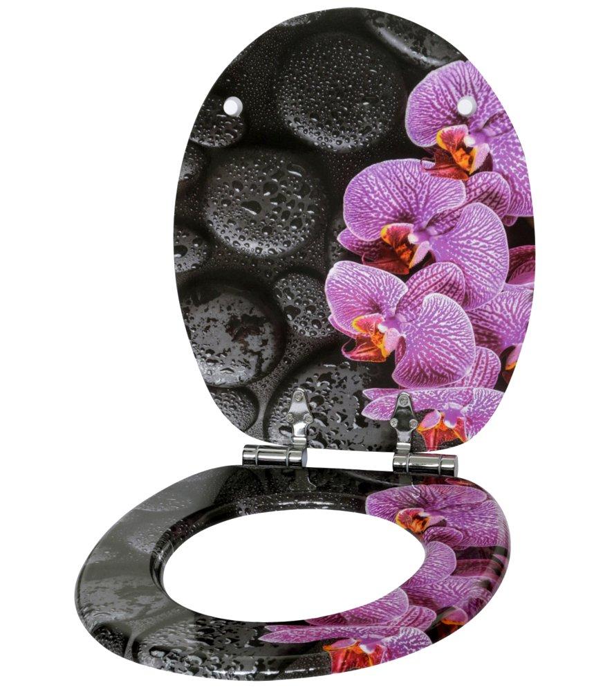 Fiore rosa Grande scelta di belli sedili WC da legno robusto e di alta qualit/à Sedile WC con chiusura ammortizzata