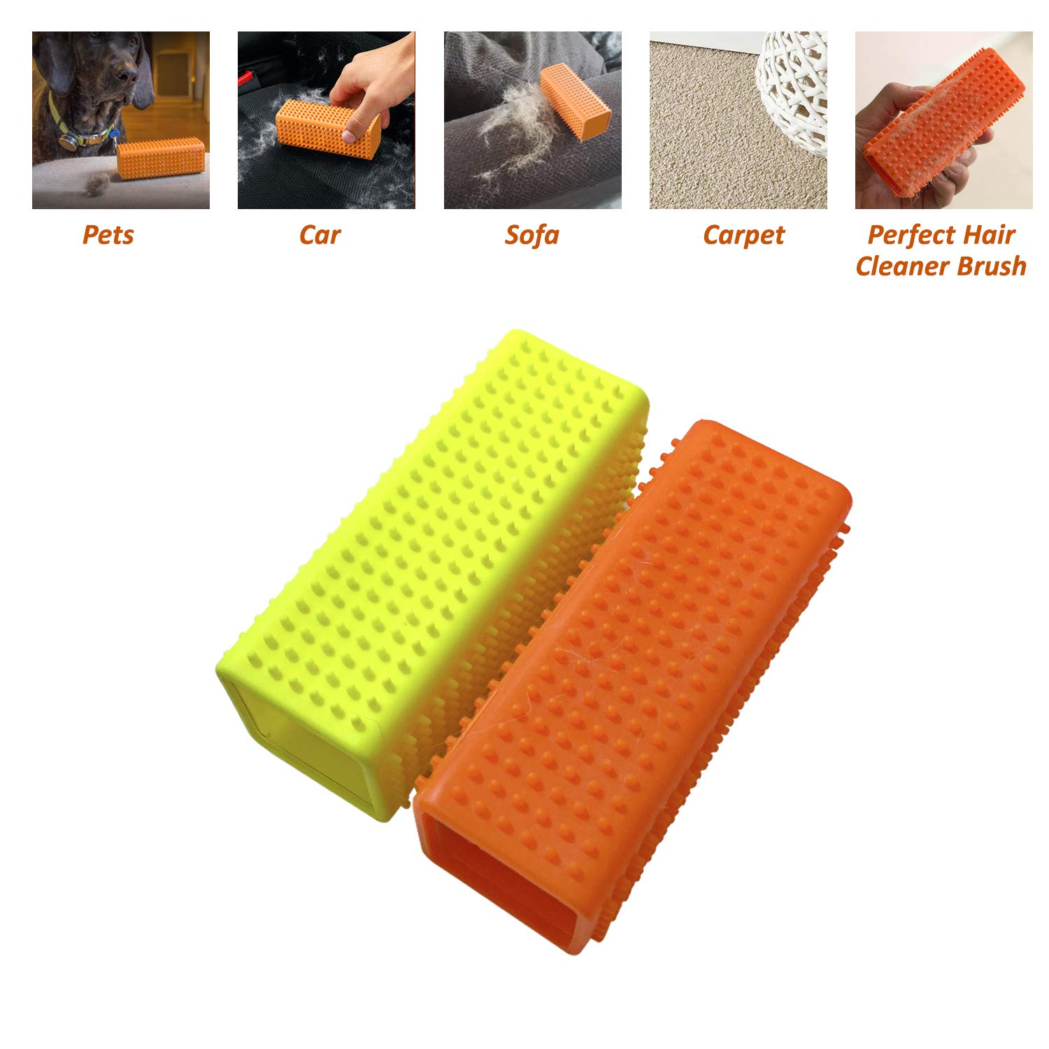 USAMS Pet Dog Cat Hair Remover for Cars Furniture Carpet Sofa Hollow Rubber Cleaner Brush (Orange+Yellow, 2-Pack)