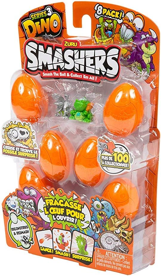 ZURU SMASHERS 7438 Series 3 Dino 8-Pack with Dig n' Find Surprise, Orange, One Size