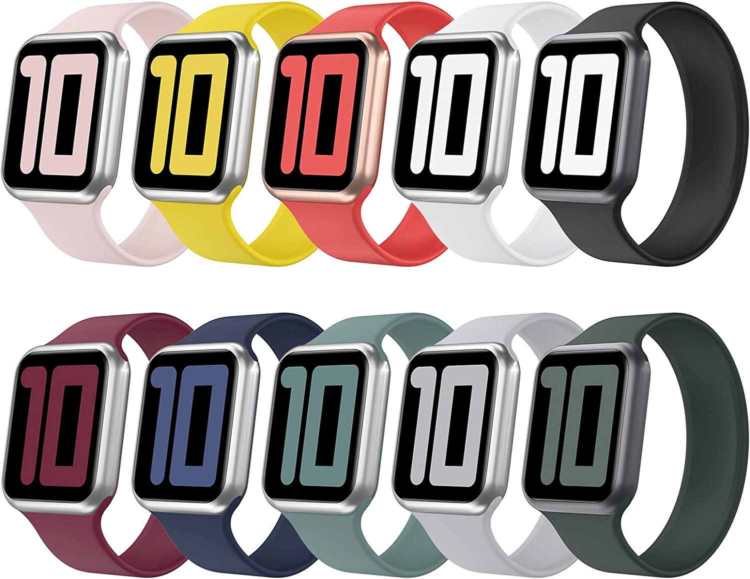 Huishang 10 Pack Solo Loop Strap Compatible with Apple Watch Band 38mm 42mm 40mm 44mm, Silicone Watch Bands, Sport Replacement Wristband for iWatch Series 6/5/4/3/2/1, SE