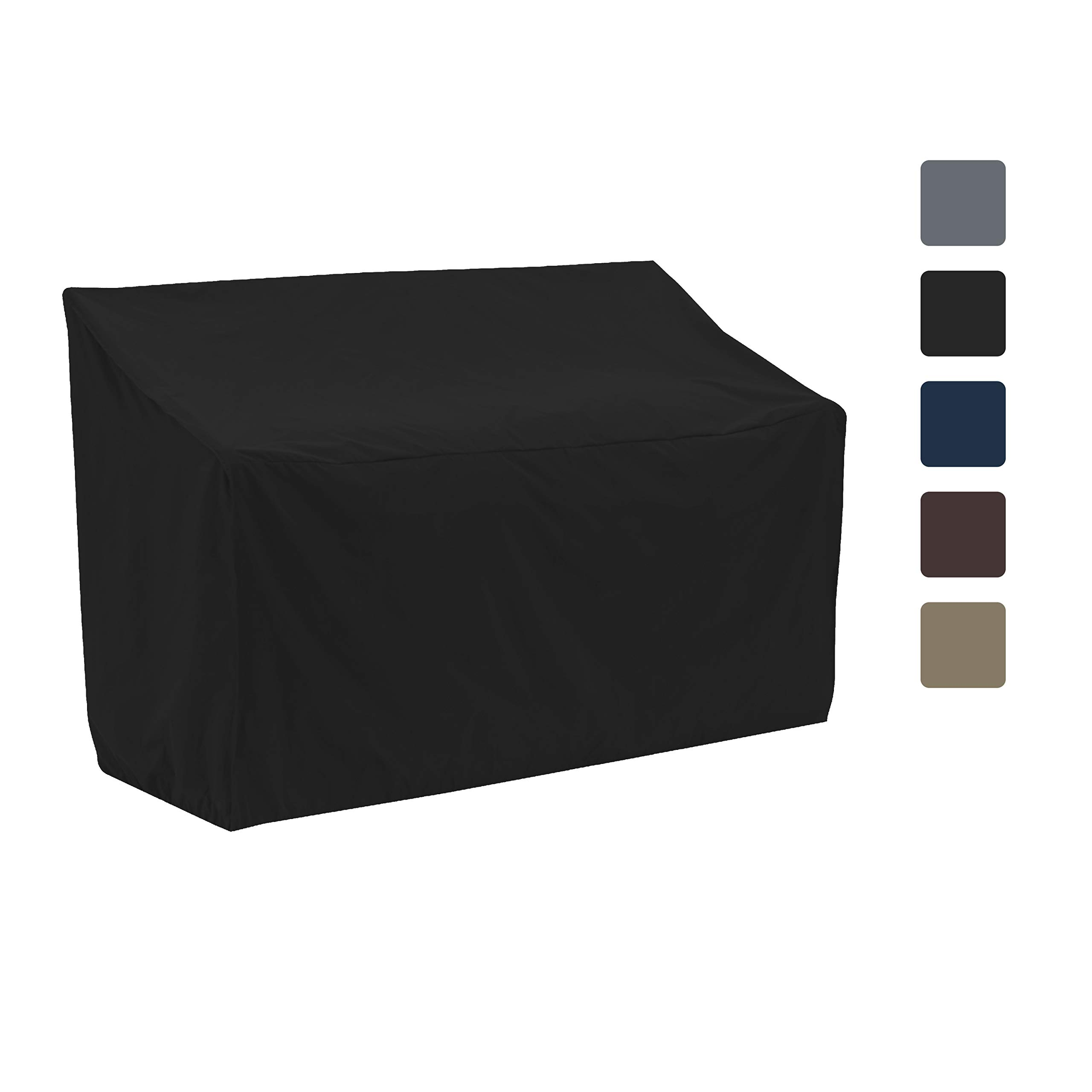COVERS & ALL Bench Cover 12 Oz Waterproof - 100% UV & Weather Resistant Customizable Bench Seat Cover with Air Pockets and Drawstring for Snug Fit (60'' X 28.5'' X 30'', Black)