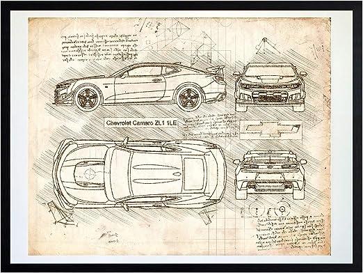 Purple Dodge Challenger RT R//T Technical Sketch print poster