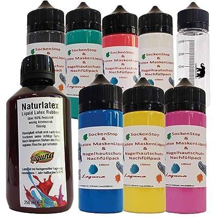 Látex líquido Calcetines Stop 7 x 100 ml coloreado látex + 250 ml Transparente=950 ml Liquid Leche de ...