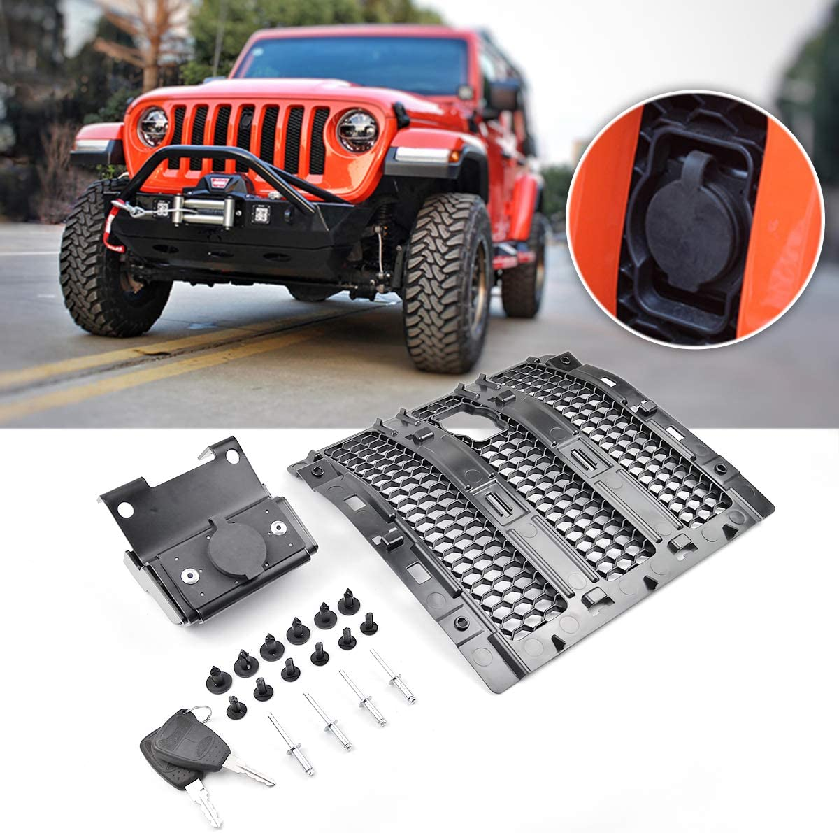 2019 Sahara 2020 Jeep Wrangler JL JLU Rubicon Come with Key XBEEK Hood Lock of Jeep Anti-Theft Security Device for 2018 Sport Accessories