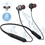BT01 Sports Bluetooth Earphone, Neckband Wireless Earphones with Mic and HD Stereo Sound 10 Hours Hands Free Call Bluetooth Earbuds Flexible Wireless Headphones in Ear Waterproof
