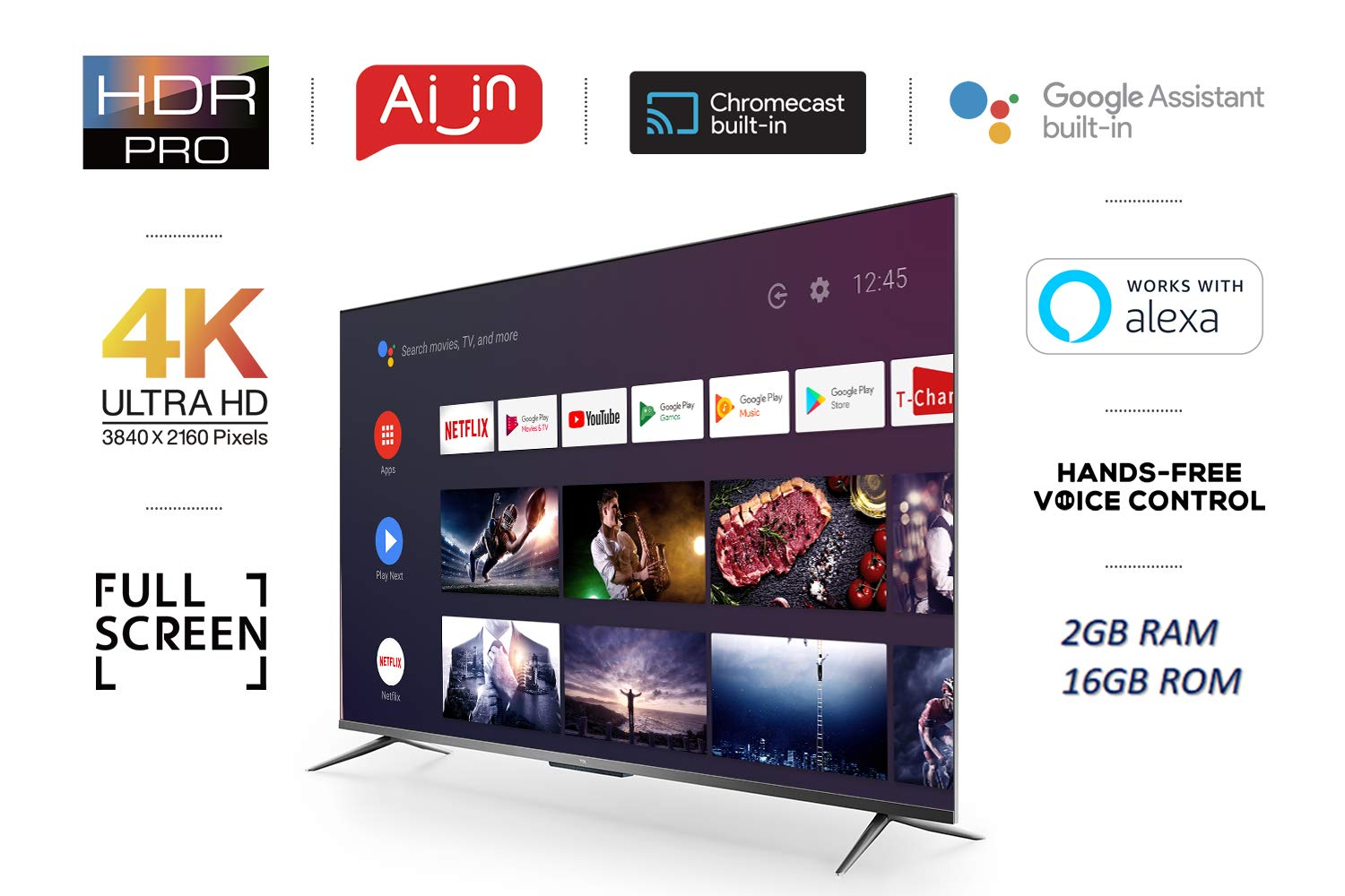 TCL 139 cm (55 inches) AI 4K Ultra HD Certified Android Smart LED TV