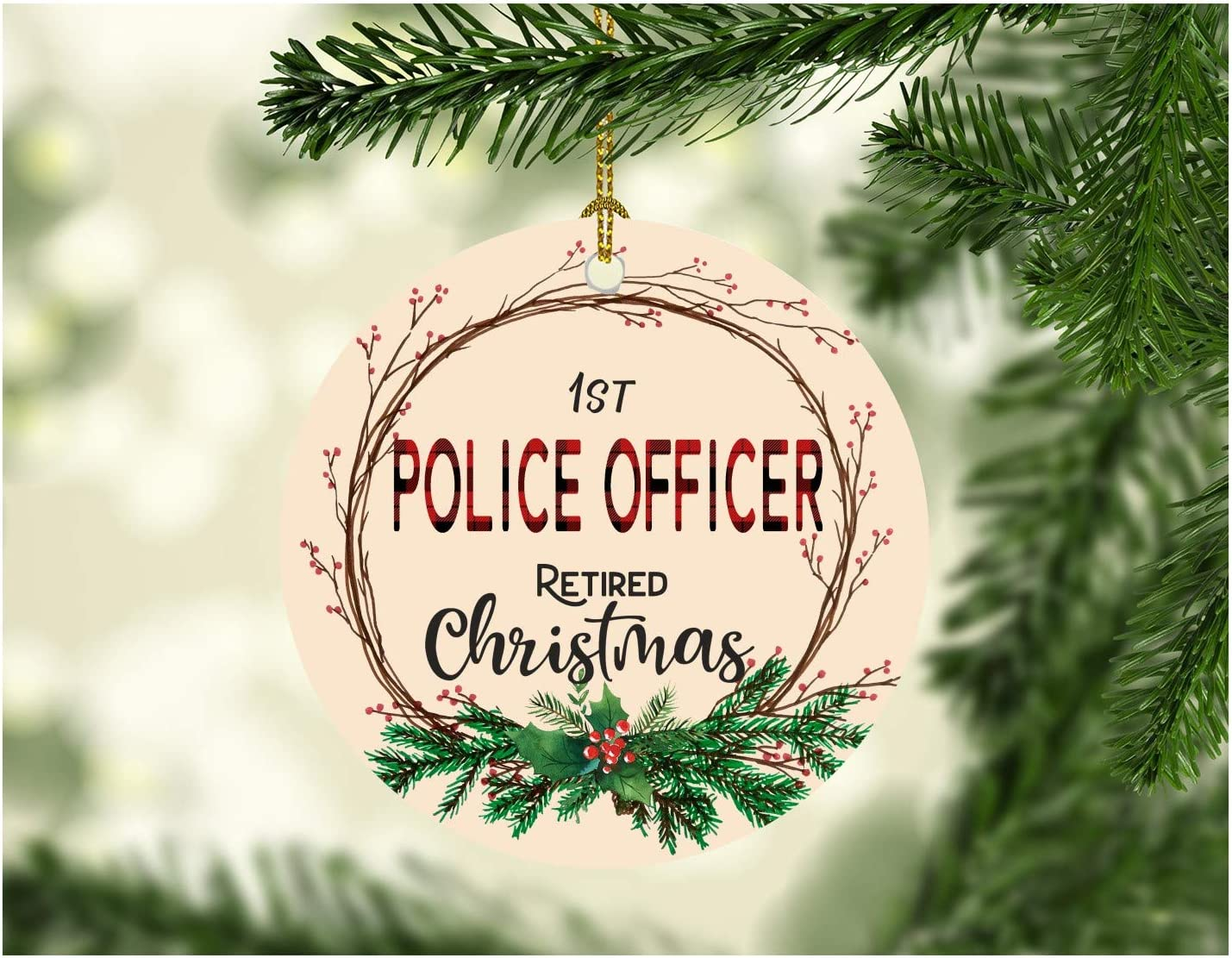 """Rustic Retirement Ornament Christmas 2020 Job Work Police Officer First Holiday Retired Gift Man Dad Brother Uncle Grandpa Xmas Decoration Tree Party Present 3"""" MDF Plastic White"""