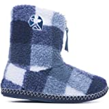 Bedroom Athletics - McQueen - Check Sherpa Fleece Slipper Boots - Navy / Black