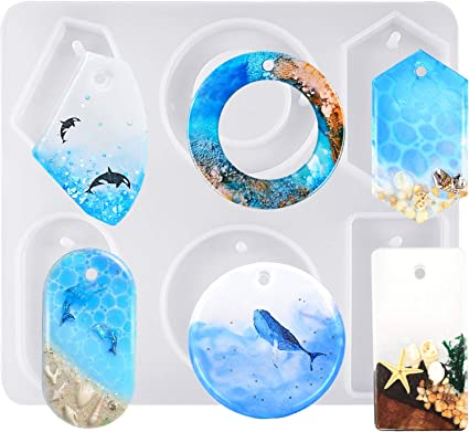 Sculpting & Forming Craft Supplies & Tools 6 styles in one pendant silicone mold with hole Earring pendant resin molds for jewelry pendant mold craft mould for ring pendant making