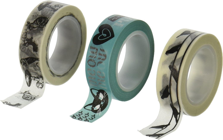 Wrapables Japanese Washi Masking Tape Set of 3 10m by 15mm Talking Animals
