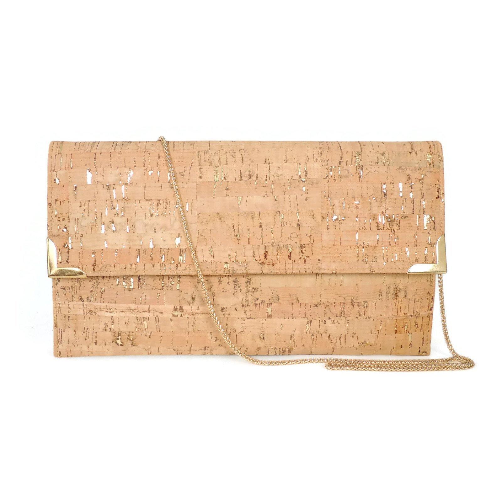 Vegan Cork Foldover Evening Clutch with Chain Shoulder Strap by SPICER BAGS