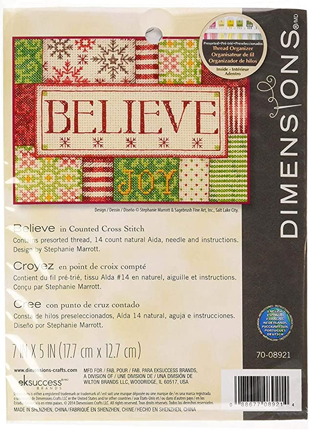 Believe 70-08921 Dimensions 72F-73351 Crafts Needlecrafts Counted Cross Stitch Kit