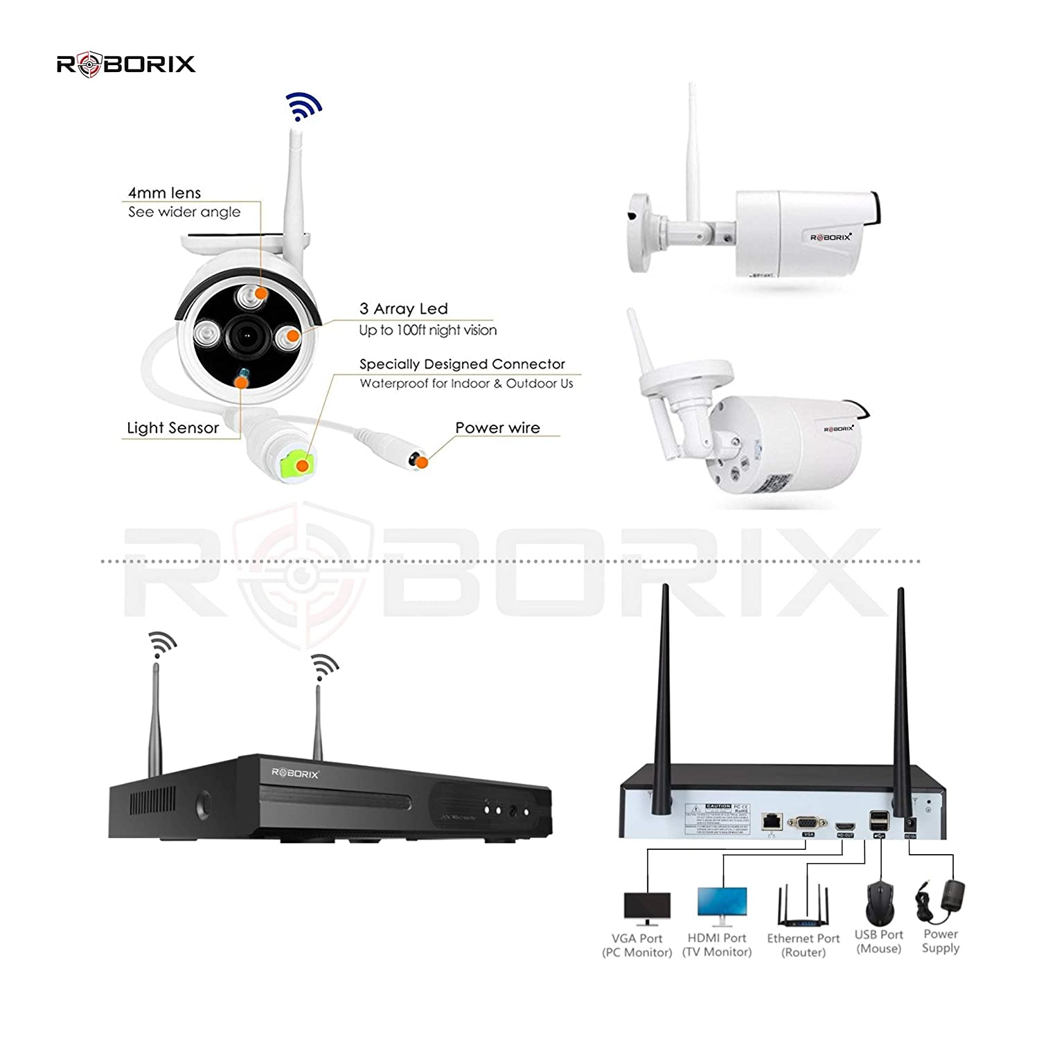 Buy Roborix Wireless Ip Nvr Cctv Security Camera Kit 4 Channel Mouse Cable Wire Diagram 720p Hd Infrared Bullet Cameras Day Night Vision Weather Proof Indoor Outdoor Online At