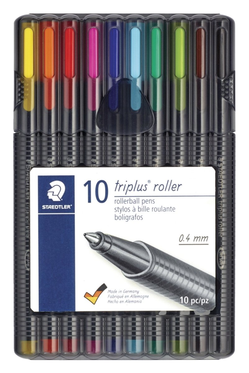 Staedtler-Mars 1596061 Staedtler Triplus Roller Ball44; Assorted Colors - Pack of 10