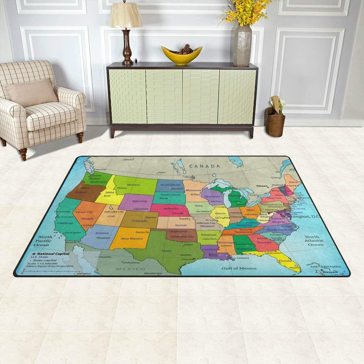 Area Rug 31x20 Inches Usa Map Carpet For Living Room Bedroom Amazon Co Uk Kitchen Home