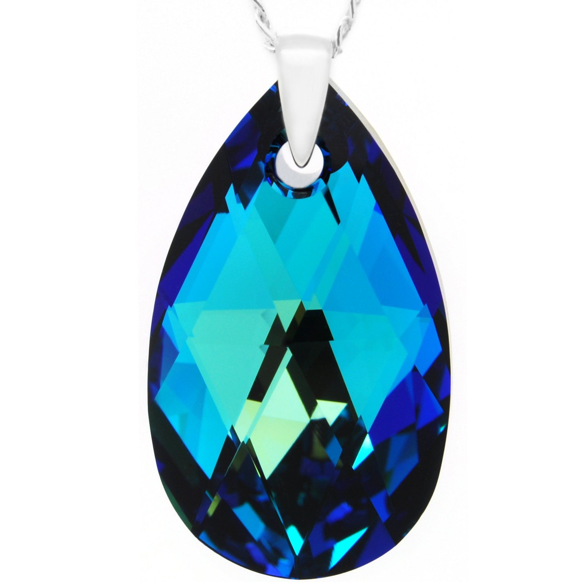 Royal Crystals Luxe Blue Green 925 Sterling Silver Made with Swarovski Crystals Teardrop Pendant Necklace for Women,18