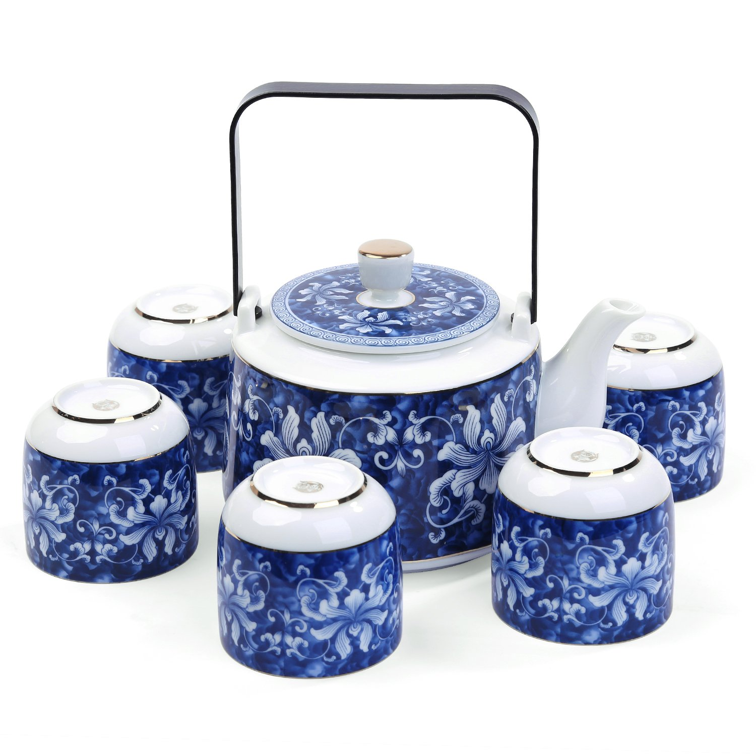 FORLONG FL5006 Vintage Chinese Style Porcelain Handmade Kung Fu Tea Set with tea pot and tea cups 7 pack