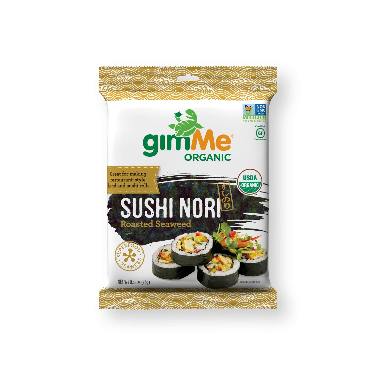 gimMe Organic Roasted Seaweed - Restaurant-style Sushi Nori Sheets - 0.81 Ounce