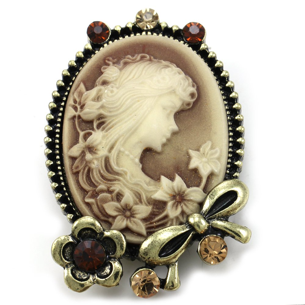 Brown Cameo Brooch Pin Flower Ribbon Rhinestones Fashion Jewelry for Women