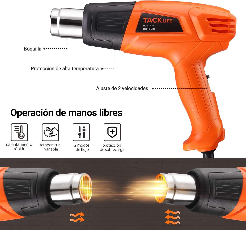 HGP68AC 2 temp/ératures r/églables 350/°C-550/°C pistolet /à air chaud avec 4 embouts TACKLIFE Pistolet /à chaleur 2000 W D/écapteur