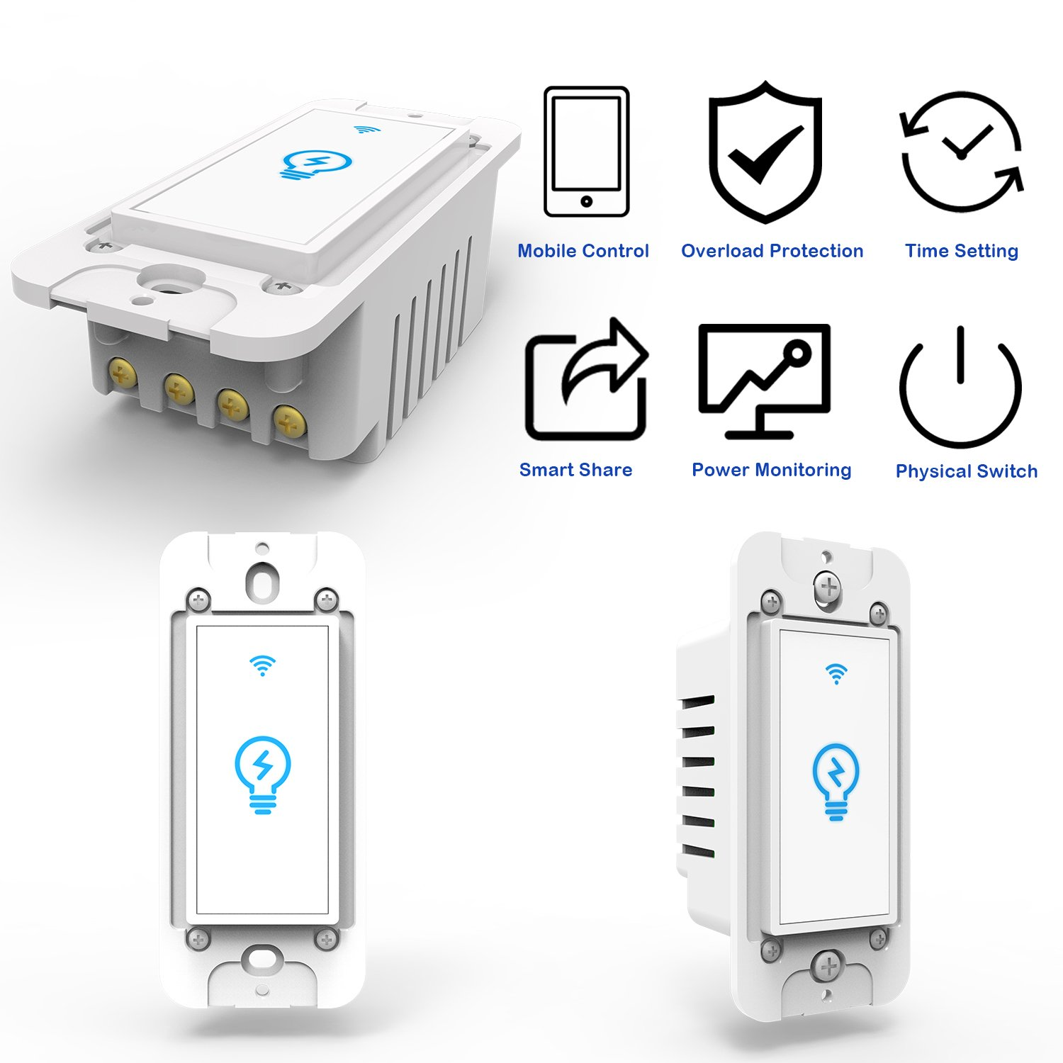 Smart Switch Works With Alexa In Wall Light Mobile Phone App Wiring On Double Diagram Two Lights House Remote Control Sensitive Touch Wireless
