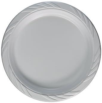 Platos de plástico desechables extra fuertes de 26 cm de tamaño grande, paquete de 50