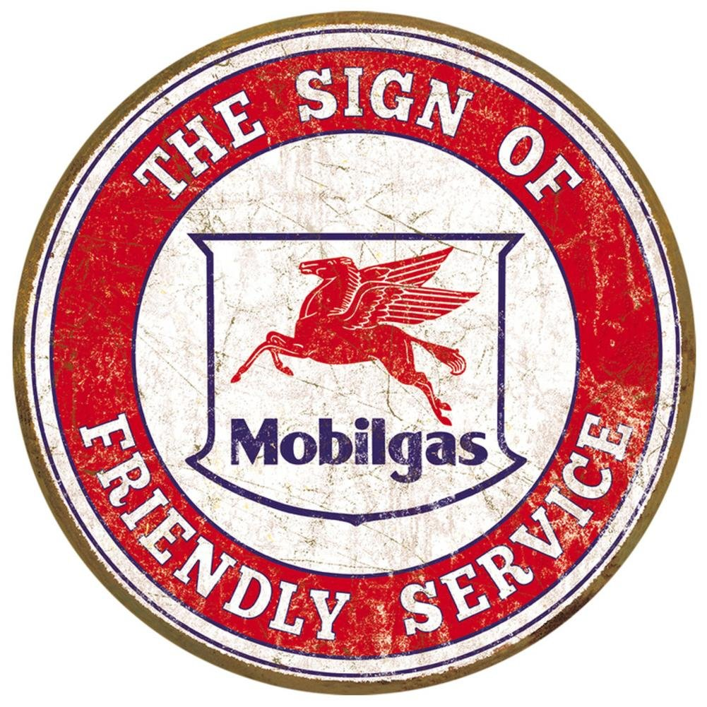 Mobil Friendly Service Tin Sign 10 x 10in The Vintage Sign Store