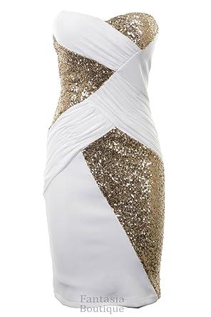 5868b3e288 Fantasia Boutique ® New Ladies Boobtube Sequin Cross Contrast Plain Back  Bodycon Women s Party Dress  Amazon.co.uk  Clothing