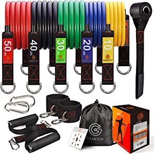 GAIATOP Resistance Bands Set with 5 Stackable Premium Cable Bands Stackable Up to 150 lbs Exercise Bands Portable Home Gym Accessories Perfect Muscle Builder for Arms, Back, Leg, Chest, Belly, Glutes