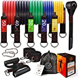 GAIATOP Resistance Bands Set with 5 Stackable Premium Cable Bands Stackable Up to 150 lbs Exercise Bands Portable Home…