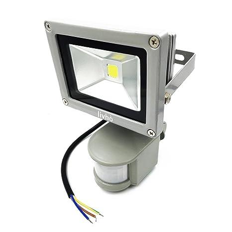 LIVHÒ - exterior y interior 20 W Foco LED blanco frío con sensor de movimiento,