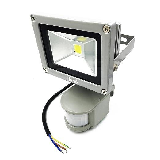 155 opinioni per LIVHÒ | Faro LED da 20W a luce bianca con sensore di movimento, da esterni,