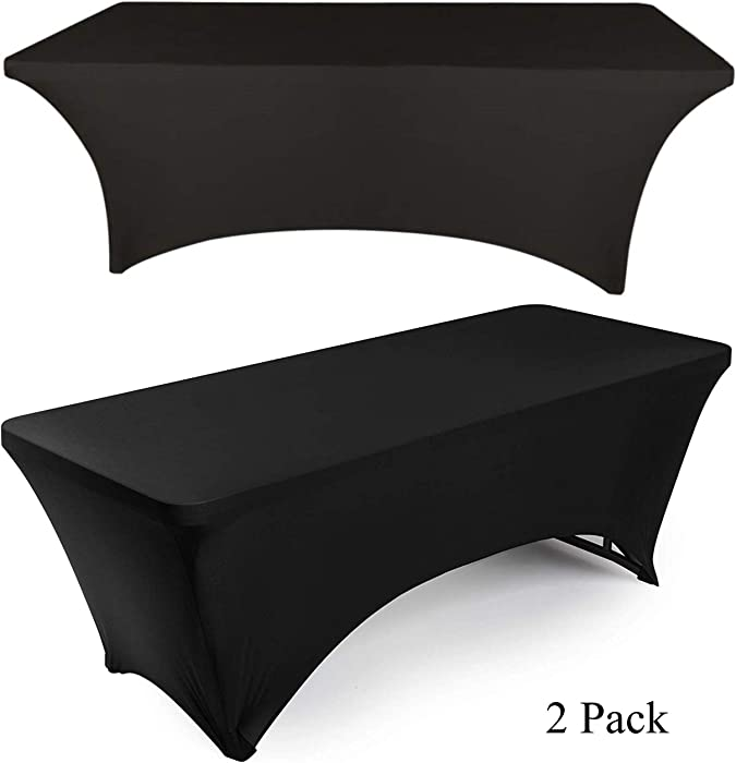 White Classic 6ft Rectangle Stretch Tablecloth - Tight Fitted Spandex Rectangular Table Cover for 6 Feet Folding Table (Black, 2 Pack)