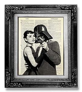 Audrey Hepburn Wall Art, Star Wars Poster, Darth Vader Decor, Dictionary Art Print, Funny Office Gift for Man, Movie Art Print, Living Room Decor, Cool Boyfriend Gift for Husband Birthday Present