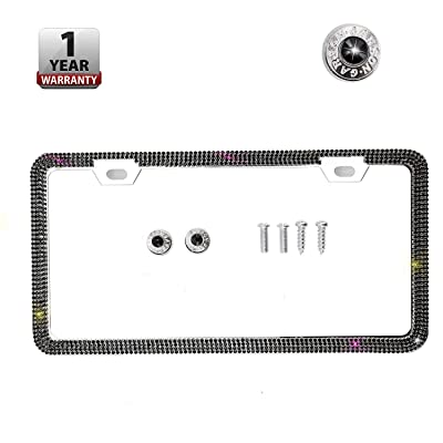 Indeedbuy Sparkle Crystal Bling Car Thin Border License Plate Frame, Luxury Handmade Waterproof Glitter Rhinestone Premium Stainless Steel Licence Plate Front Back License (Black Single): Automotive