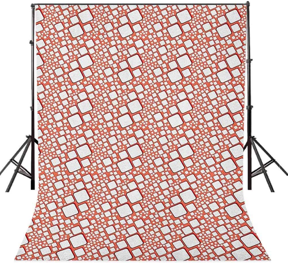 9x16 FT Abstract Vinyl Photography Backdrop,Ornamental Squares with Oval Corners in Various Shapes Geometric Pattern Background for Baby Birthday Party Wedding Studio Props Photography