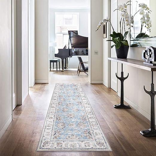 jinchan Vintage Runner Rug Area Rug Kitchen Living Room Elegant Floral  Floorcover Indoor Low Pile Mat Bedroom Blue 2\'2\