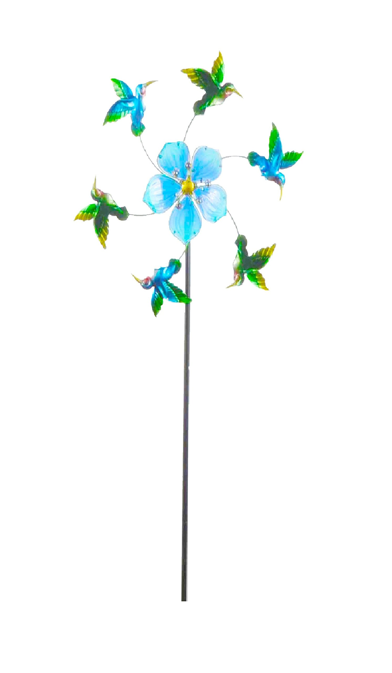 Continental Art Center 24''X24''X64'' Blue flower and humming bird kinetic stake