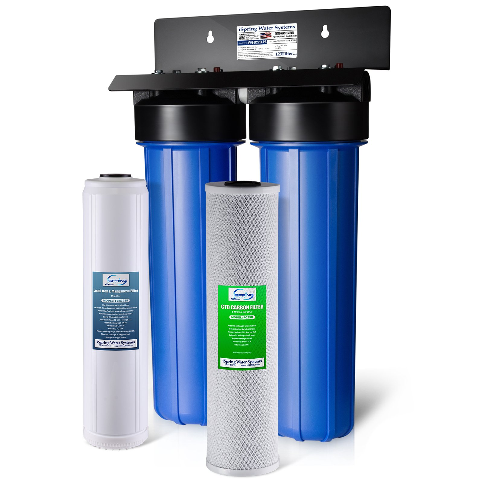 iSpring WGB22B-PB 2-Stage Whole House Water Filtration System w/ 20-Inch Carbon Block and Iron & Lead Reducing Filter