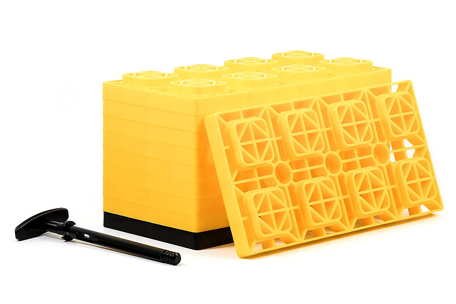 Camco Yellow 44515 Fasten Leveling Blocks with T-Handle, 4X2, 10 Pack