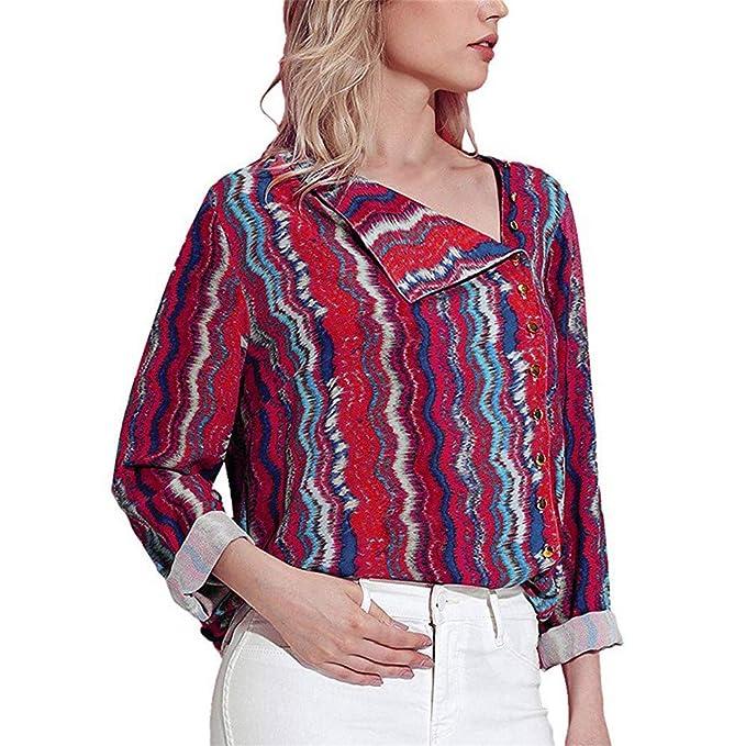 ❤ Turndown Collar Blusa para Mujer, Moda Otoño Print Tops de Manga Larga Camiseta Absolute: Amazon.es: Ropa y accesorios