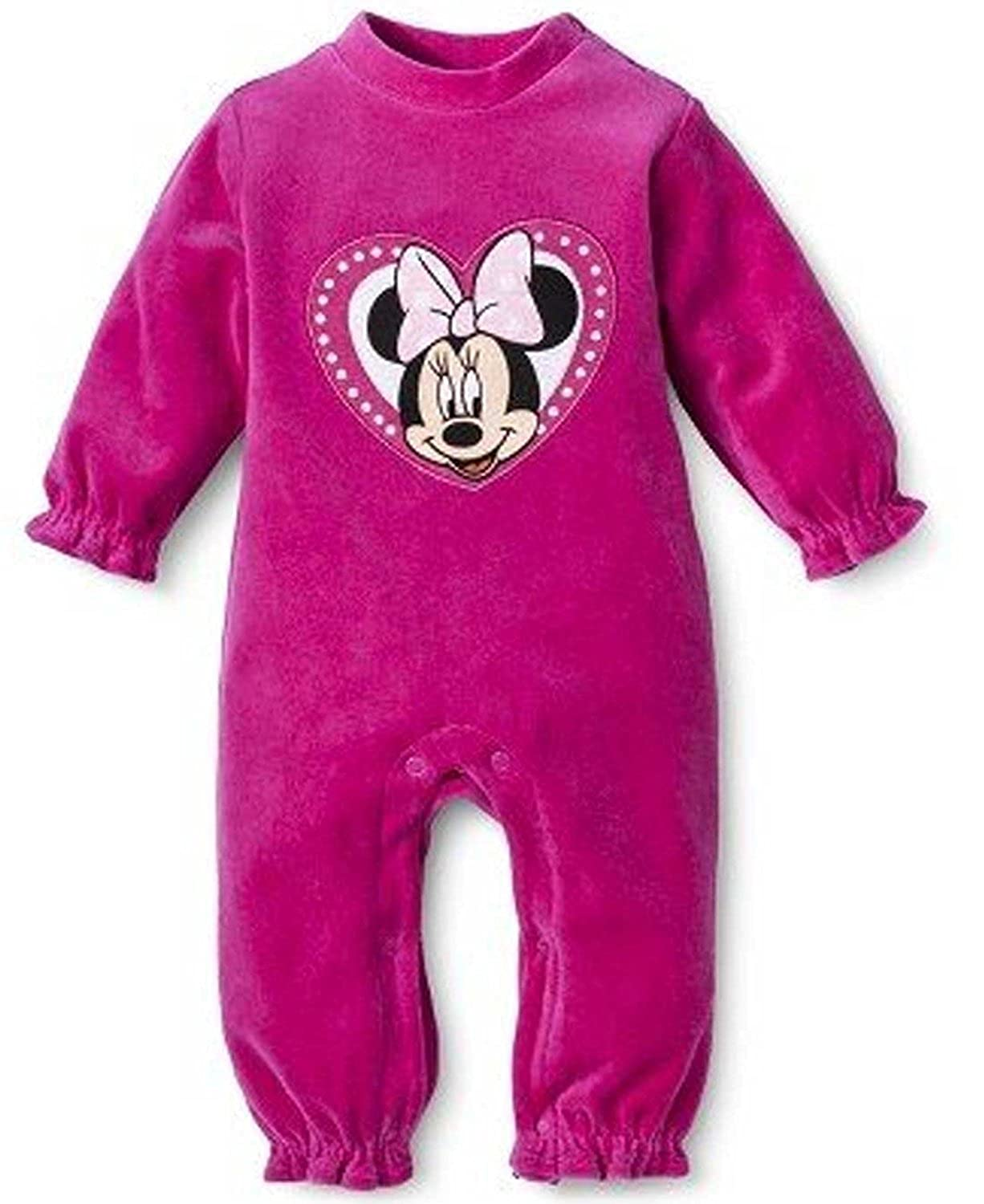 e7c76b159 Amazon.com  Disney Minnie Mouse Baby Girls  Infant Velour Jumpsuit ...