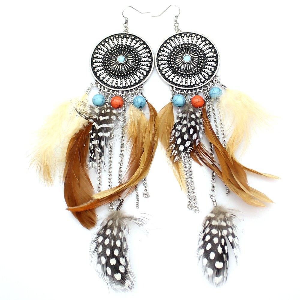 Q&Q Fashion Western Cowgirl Vintage Big Dream Catcher Feather Coral Turkey Blue Stone Bead Navajo Zuni Style Earrings 80520
