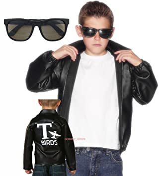dbe93e6a6 Party Central Boys Kids Grease T-Birds Jacket Costume with Shades (7 ...