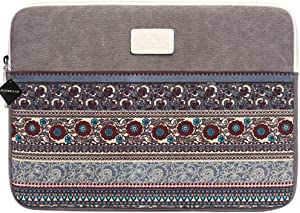 11.6 Inch Laptop Sleeve 11 Inch Bohemian Canvas Protective Notebook Bag Computer Case Cover for MacBook Pro MacBook Air Chromebook Acer Dell HP Samsung Sony (Horizontal, Gray)