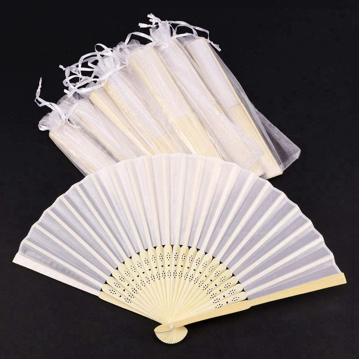 24 Stueck Los Weiss Falten elegante Seide Hand Fan mit Geschenktuete Hochze 1I