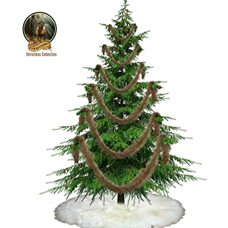 fur accents christmas tree swag garland decoration shaggy shag faux fur scarf - Christmas Decorations Staircase Hand Railing
