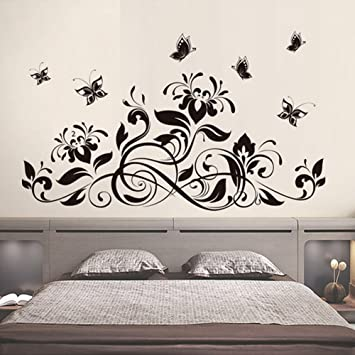 negro flores mariposas pared adhesivo pvc murales vinilo casa papel casa decoracin papel pintado saln dormitorio