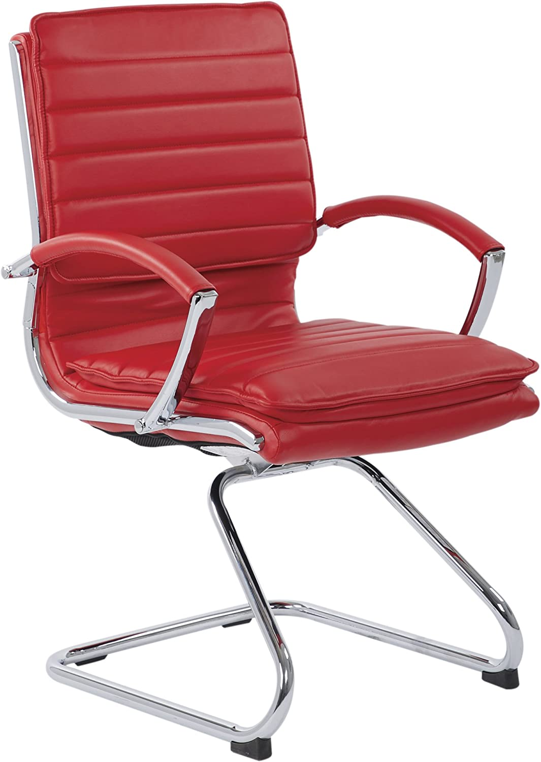 Office Star Faux Leather Guest Chair with Loop Arms and Chrome Sled Base, Red